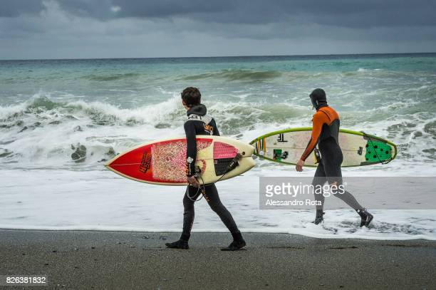 Levanto Italy A sea storm with waves of 15 meters hits the eastern coast of Liguria attracting surfers from nearby areas and beyond