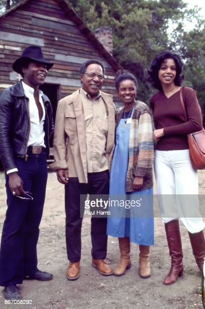 LeVar Burton Alex Haley Cicely Tyson and Olivia Cole of Roots at a photo call in 1977Roots was a dramatization of author Alex Haley's saga of...