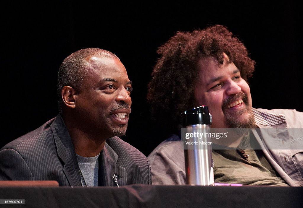 LeVar Burton and Jerry Quickley attend Get Lit Presents The 2nd Annual Classic Slam at Orpheum Theatre on April 27, 2013 in Los Angeles, California.