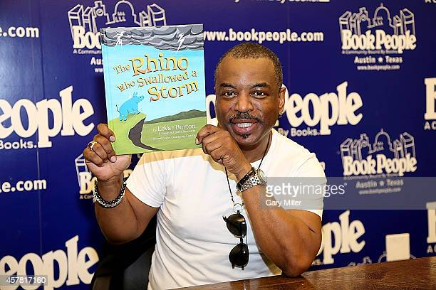 LeVar Burton reads from and signs copies of his new book The Rhino That Swollowed A Storm at Book People on October 24 2014 in Austin Texas