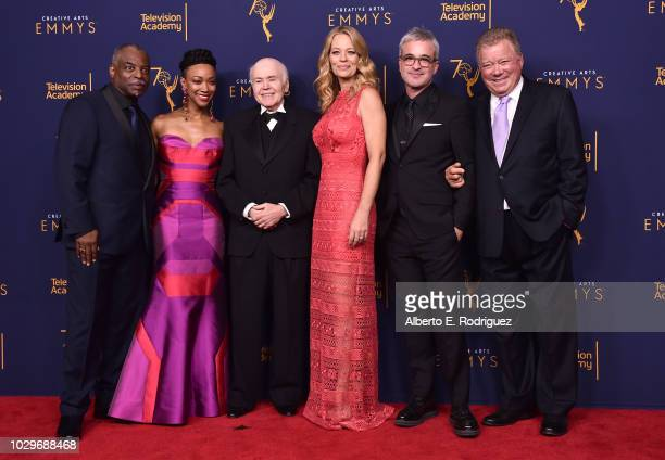LeVar Burton Sonequa MartinGreen Walter Koenig Jeri Ryan Alex Kurtzman and William Shatner poses in the press room at the 2018 Creative Arts Emmy...