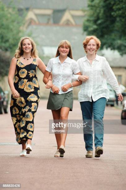 A Level stars at Central High Jesmond from left to right Christine Dixon Joanne Martin and Joanne Griffiths 15th August 1996