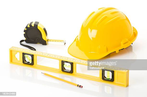 Level, Tape Measure Hardhat and Pencil