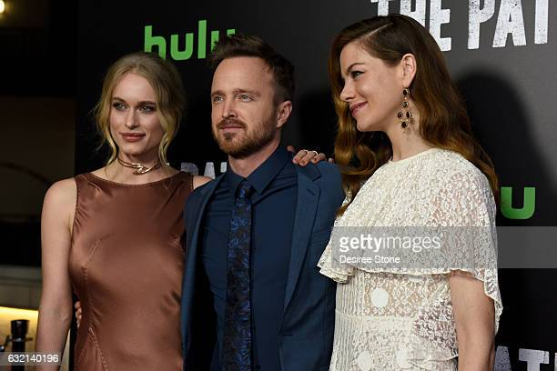 "Leven Rambin, Aaron Paul, and Michelle Monaghan attend the premiere of Hulu's ""The Path"" Season 2 at Sundance Sunset Cinema on January 19, 2017 in..."