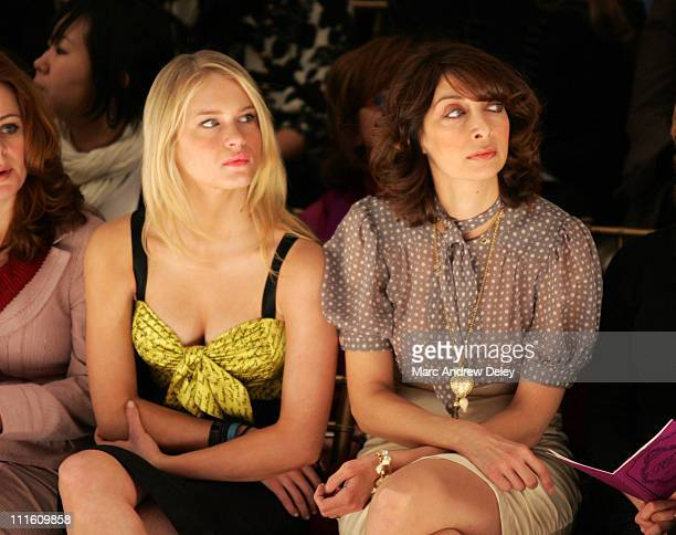 Leven Rambin and Illeana Douglas during MercedesBenz Fashion Week Fall 2007 Nanette Lepore Front Row and Backstage at The Promenade Bryant Park in...