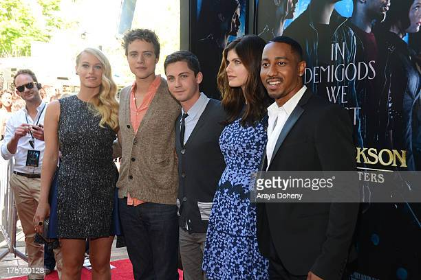 Leven Rambin Douglas Smith Logan Lerman Alexandra Daddario and Brandon T Jackson arrive at a special fan screening of 'Percy Jackson Sea Of Monsters'...