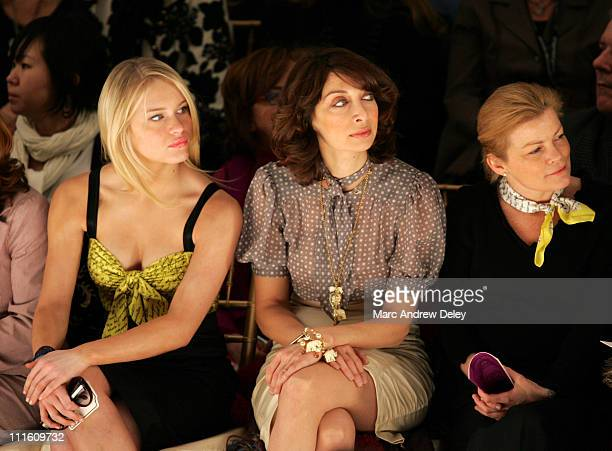 Leven Rambin left and Illeana Douglas center during MercedesBenz Fashion Week Fall 2007 Nanette Lepore Front Row and Backstage at The Promenade...