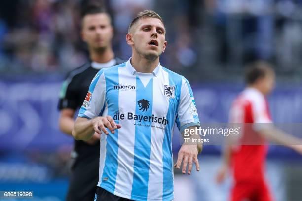 Levent Aycicek of 1860 Munich looks on during the Second Bundesliga match between TSV 1860 Muenchen and VfL Bochum at Allianz Arena on May 14 2017 in...