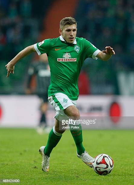 Levent Aycicek of Bremen controls the ball during the Bundesliga match between SV Werder Bremen and FC Augsburg at Weserstadion on February 14 2015...