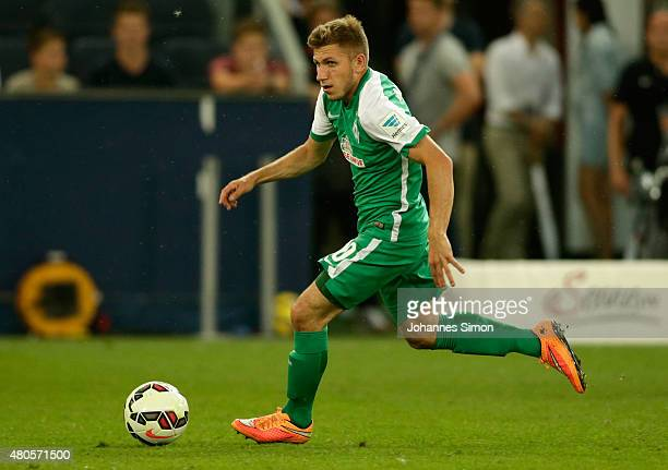 Levent Aycicek of Bremen in action during the preseason final match between SV Werder Bremen and Valencia CF as part of the Audi Quattro Cup 2015 at...