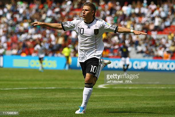 Levent Aycicek of Germany celebraters after scoring during the Group E FIFA U17 World Cup match between Germany and Ecuador at the Corregidora...