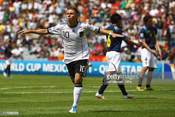 Levent Aycicek of Germany celebrates after scoring during the Group E FIFA U17 World Cup match between Germany and Ecuador at the Corregidora Stadium...