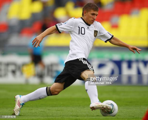 Levent Aycicek of Germany in action during the FIFA U17 World Cup quarter final match between Germany and the England at the Morelos Stadium on July...