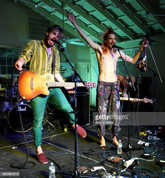 Levente Szucs and Mate Palagyi of Bohemian Betyars perform onstage at Sounds from Hungary during SXSW at Palm Door on March 16 2018 in Austin Texas