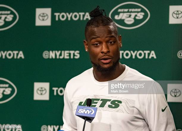 Le'Veon Bell of the New York Jets speaks with the media after mandatory minicamp at The Atlantic Health Jets Training Center on June 4, 2019 in...