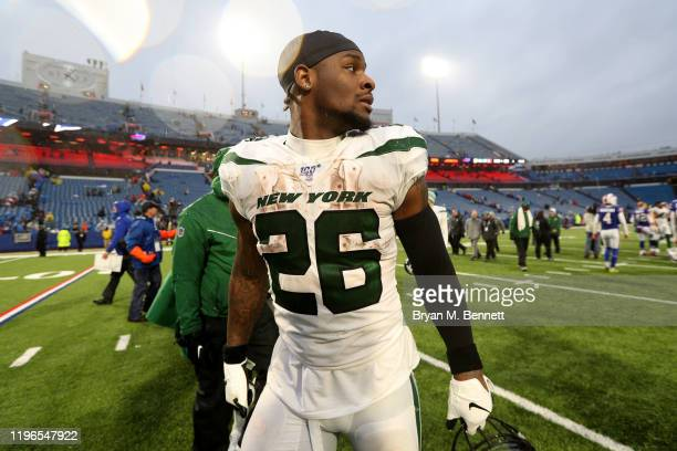 Le'Veon Bell of the New York Jets walks off the field after an NFL game against the Buffalo Bills at New Era Field on December 29, 2019 in Orchard...
