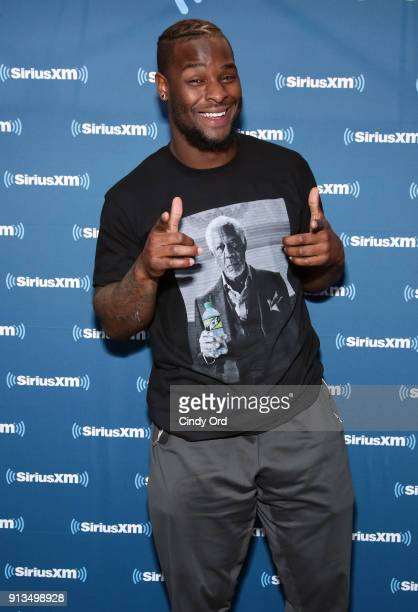 Le'Veon Bell of the Pittsburgh Steelers attends SiriusXM at Super Bowl LII Radio Row at the Mall of America on February 2 2018 in Bloomington...