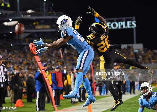 Le'Veon Bell of the Pittsburgh Steelers cannot come up with a catch while being defended by Adoree' Jackson of the Tennessee Titans in the first...