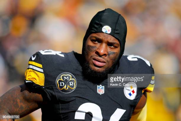 Le'Veon Bell of the Pittsburgh Steelers looks on against the Jacksonville Jaguars during the first half of the AFC Divisional Playoff game at Heinz...