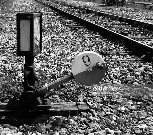 Lever Of Railroad Track On Stones
