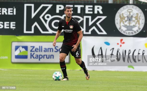 Leverkusen's Aleksandar Dragovic plays the ball during the friendly match between Bayer Leverkusen and Antalyaspor in Zell am See Austria 27 July...