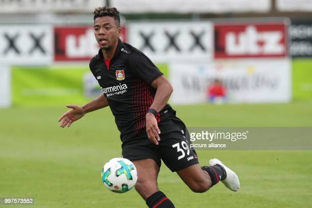 Leverkusen's Benjamin Heinrichs plays the ball during the friendly match between Bayer Leverkusen and Antalyaspor in Zell am See Austria 27 July 2017...