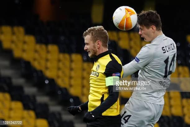 Leverkusen's Czech forward Patrik Schick heads the ball to score during the UEFA Europa League round of 32 first leg football match between BSC Young...
