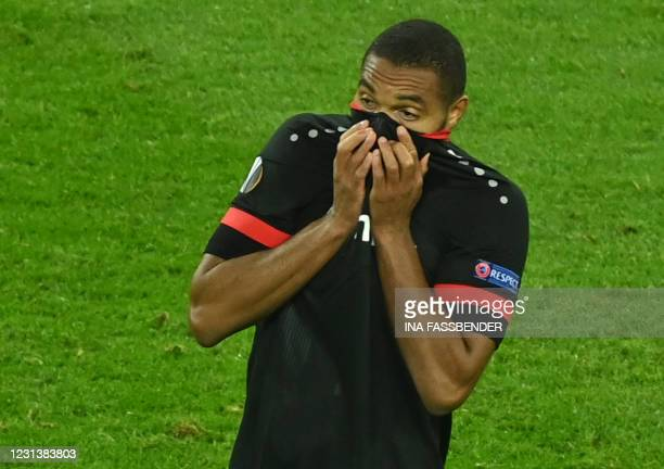 Leverkusen's German defender Jonathan Tah reacts during the UEFA Europa League last-32, 2nd-leg football match Bayer 04 Leverkusen v Young Boys in...