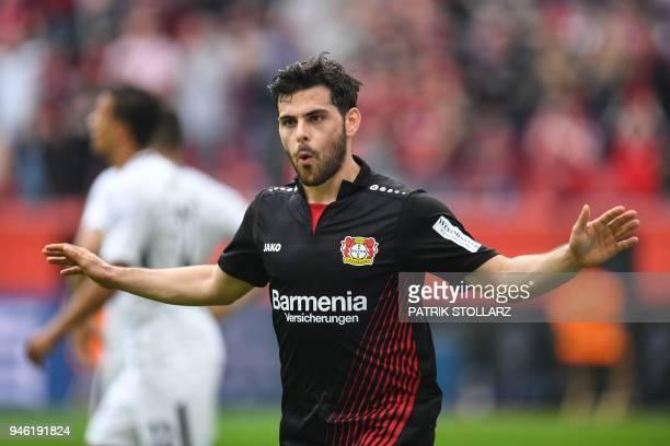 Leverkusen's German forward Kevin Volland celebrates after scoring during the German first division Bundesliga football match Bayer 04 Leverkusen vs...