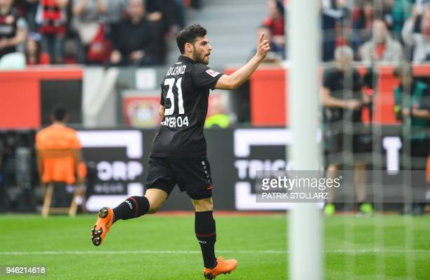 Leverkusen's German forward Kevin Volland celebrates scoring during the German first division Bundesliga football match Bayer 04 Leverkusen vs...
