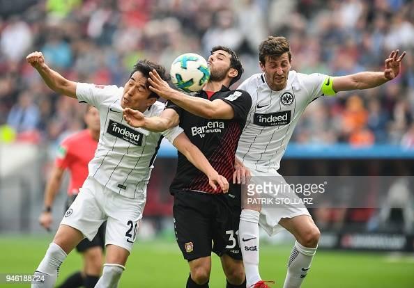 Leverkusen's German forward Kevin Volland , Frankfurt's ...