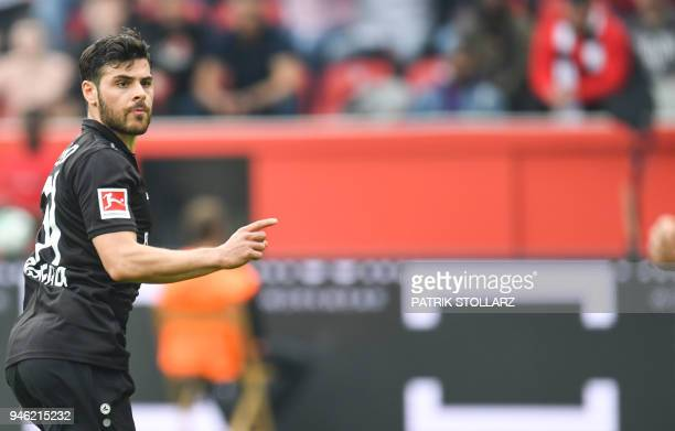 Leverkusen's German forward Kevin Volland reacts after he scored during the German first division Bundesliga football match Bayer 04 Leverkusen vs...