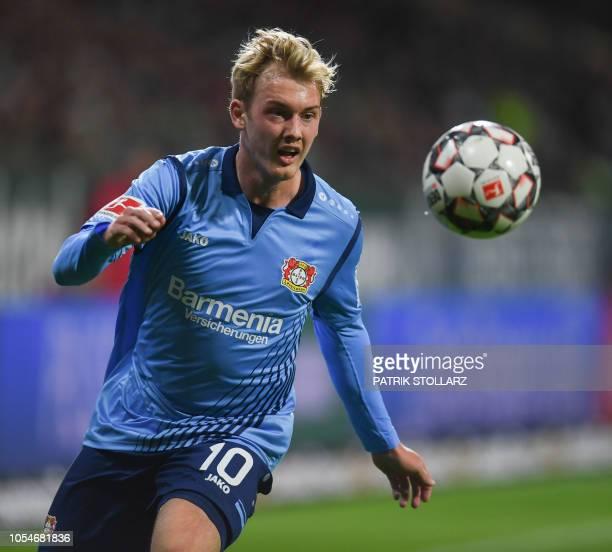Leverkusen's German midfielder Julian Brandt plays the ball during the German first division Bundesliga football match Werder Bremen vs Bayer 04...