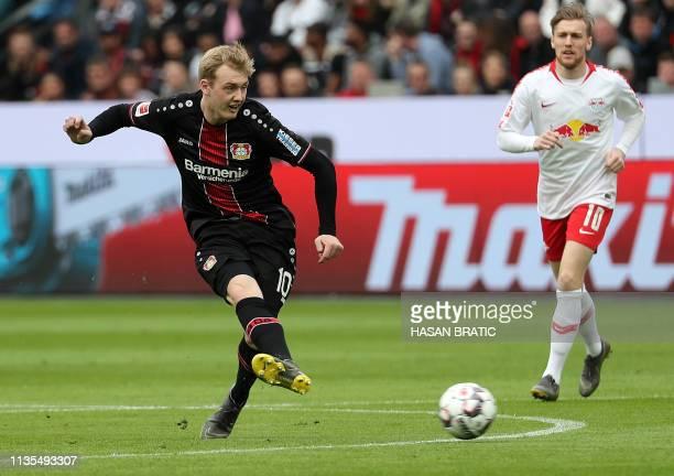 Leverkusen's German midfielder Julian Brandt plays the ball during the German first division Bundesliga football match between Bayer Leverkusen and...