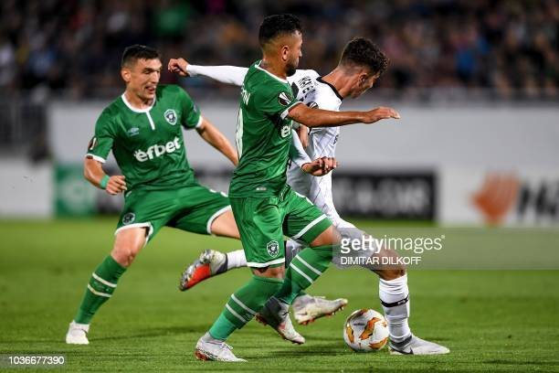 Leverkusen's German midfielder Kai Havertz controls the ball during the UEFA Europa League Group A football match between Ludogorets Razgrad and...