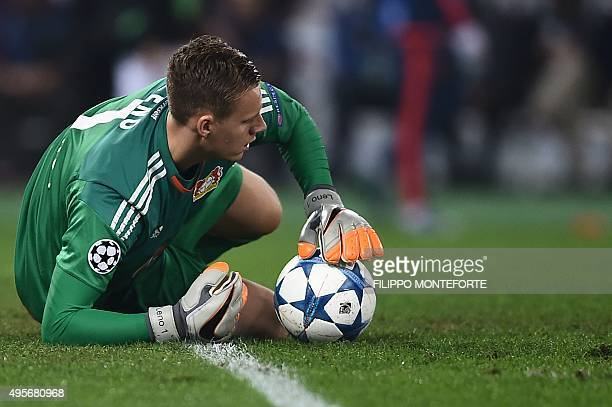 Leverkusen's goalkeeper Bernd Leno makes a save during the UEFA Champions League football match AS Roma vs Bayer Leverkusen on November 4 2015 at the...
