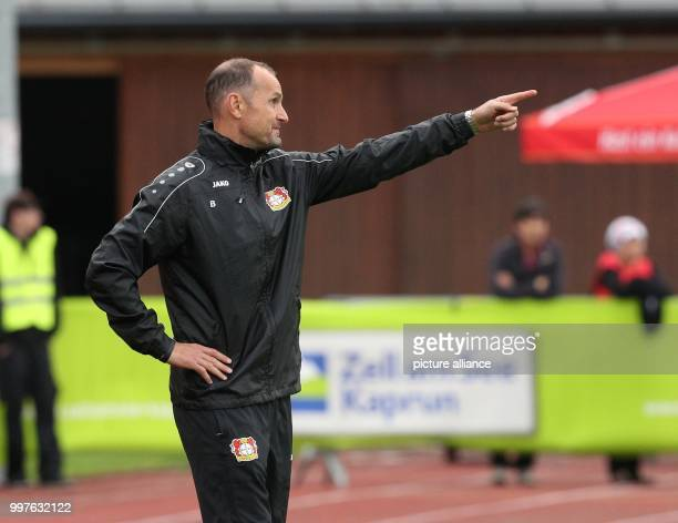 Leverkusen's head coach Heiko Herrlich gives instructions durint the test match between Bayer Leverkusen and Antalyaspor in Zell am See Austria 27...