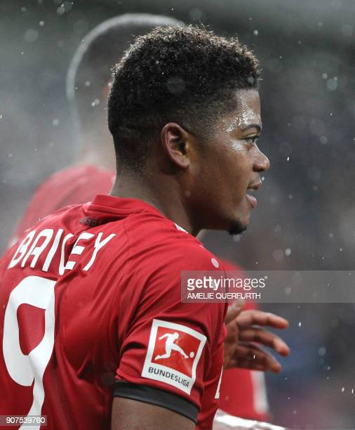 Leverkusen's Jamaican midfielder Leon Bailey celebrates after scoring the 01 during the German First division Bundesliga football match TSG 1899...