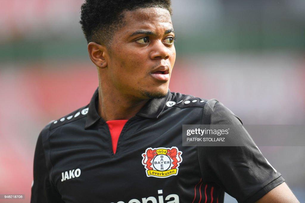 Leverkusen's Jamaican midfielder Leon Bailey reacts during the German first division Bundesliga football match Bayer 04 Leverkusen vs Eintracht Frankfurt, in Leverkusen, western Germany, on April 14, 2018. / AFP PHOTO / Patrik