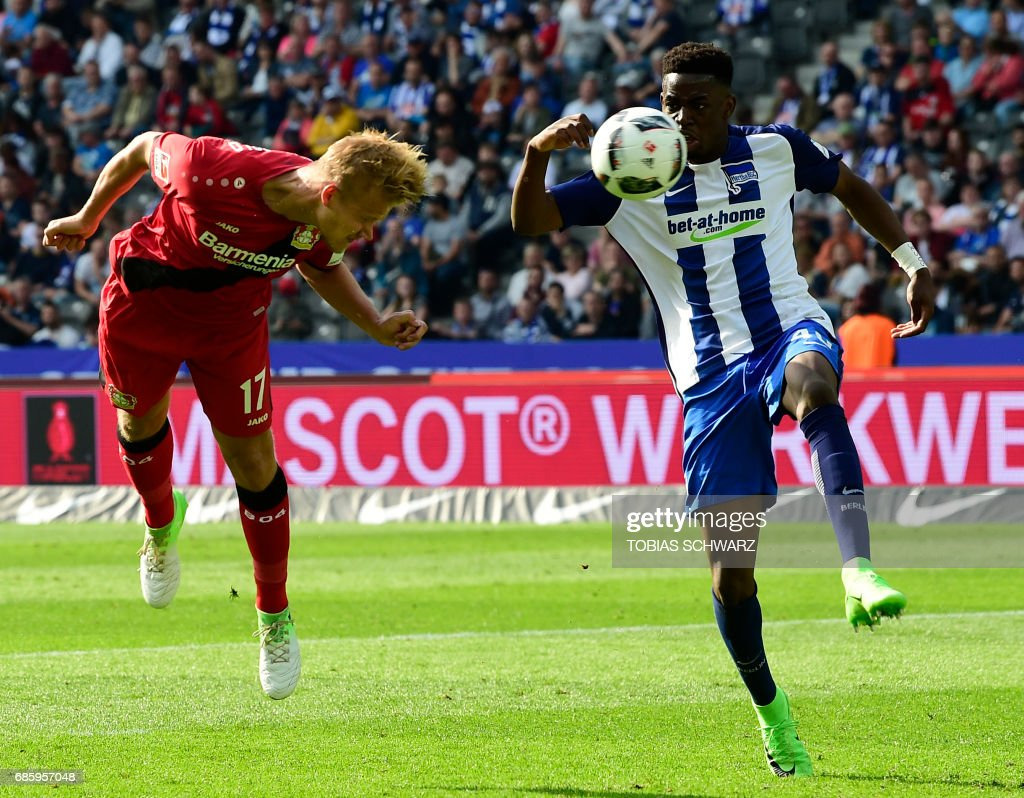 Leverkusen's Joel Pohjanpalo scores during the German first division football match between Hertha Berlin and Bayer 04 Leverkusen in Berlin, on May 20, 2017. /