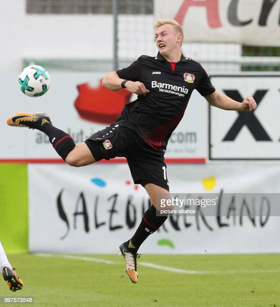 Leverkusen's Julian Brandt plays the ball during the friendly match between Bayer Leverkusen and Antalyaspor in Zell am See Austria 27 July 2017...