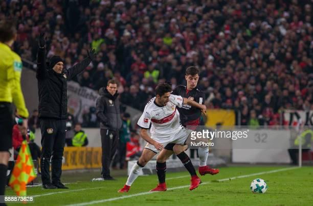 Leverkusens Kai Havertz in a duel with Stuttgarts Berkay Ozcan during the Bundesliga match between VfB Stuttgart and Bayer 04 Leverkusen at...