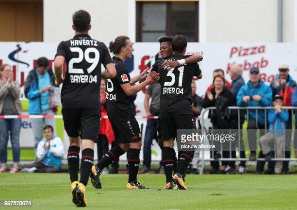 Leverkusen's Kai Havertz Julian Baumgartlinger Leon Bailey and goalscorer Kevin Volland celebrate after the goal for 10 in the soccer friendly...