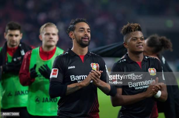 Leverkusens Karim Bellarabi and Leon Bailey celebrate their victory after the final whistle the Bundesliga match between VfB Stuttgart and Bayer 04...