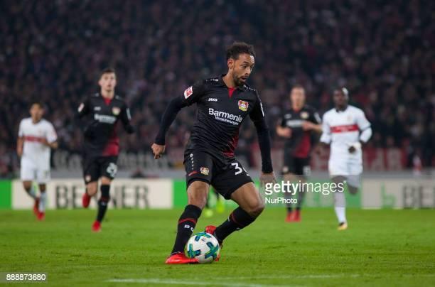 Leverkusens Karim Bellarabi initiates a counter during the Bundesliga match between VfB Stuttgart and Bayer 04 Leverkusen at MercedesBenz Arena on...