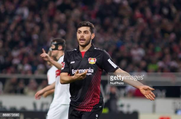 Leverkusens Kevin Volland complains about a foul during the Bundesliga match between VfB Stuttgart and Bayer 04 Leverkusen at MercedesBenz Arena on...