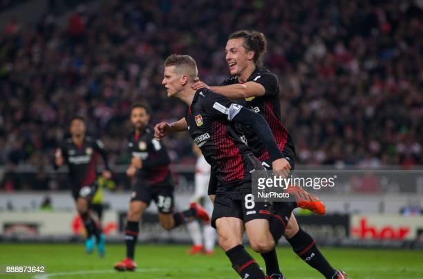 Leverkusens Lars Bender celebrates with his team mate Julian Baumgartlinger after scoring the 20 goal during the Bundesliga match between VfB...