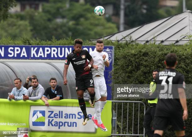 Leverkusen's Leon Bailey and Antaly's Ondrej Celustka vie for the ball in the soccer friendly between Bayer Leverkusen and Antalyaspor in Zell am See...