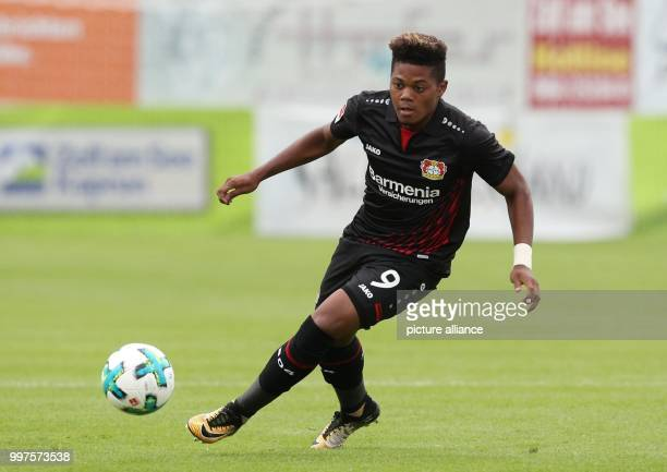 Leverkusen's Leon Bailey plays the ball during the friendly match between Bayer Leverkusen and Antalyaspor in Zell am See Austria 27 July 2017 Photo...
