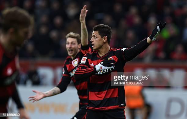 Leverkusen's Mexican striker Javier Hernandez reacts during the German first division Bundesliga football match of Bayer 04 Leverkusen vs Borussia...